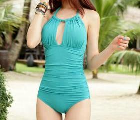 Simple fashion solid color piece swimsuit